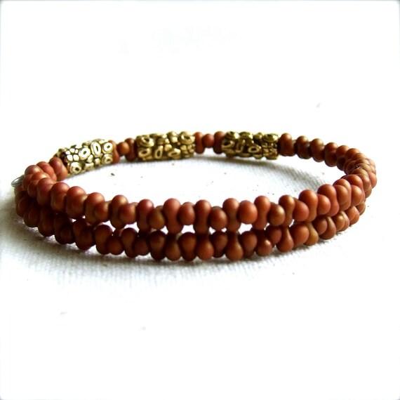 Rust Glass Seed Beaded, Decorative Brass - Cuff Bracelet Bangle- Winds in Rust - Handmade Fashion
