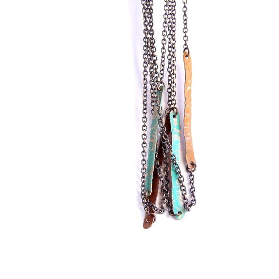 Reserved - Turquoise Verdigris Patinaed Copper Bar Necklace - 30 inch chain