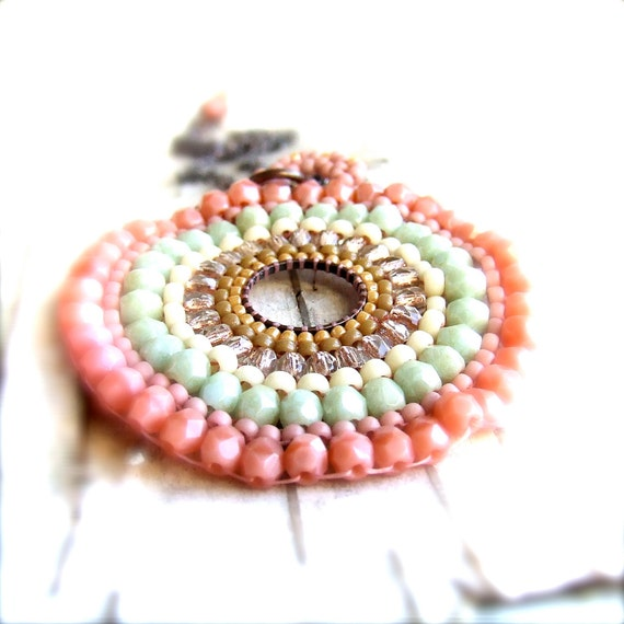 Mint Salmon Cream Peach Seed Bead Woven - Necklace -Concentric - Spring Fashion