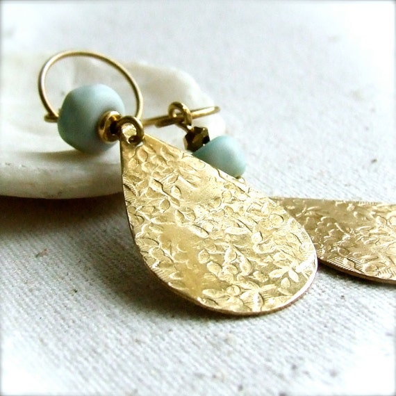 Textured Brass, Mint Artisan Glass - Earrings -Sweetness - Handmade Fashion