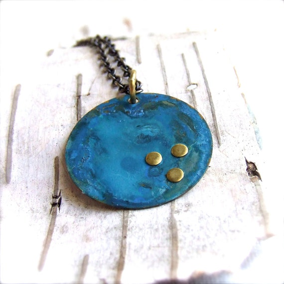 Ocean Blue Patinaed Round Brass Rivets - Patina Necklace - Little Blue - Patina Jewelry - Solar System-