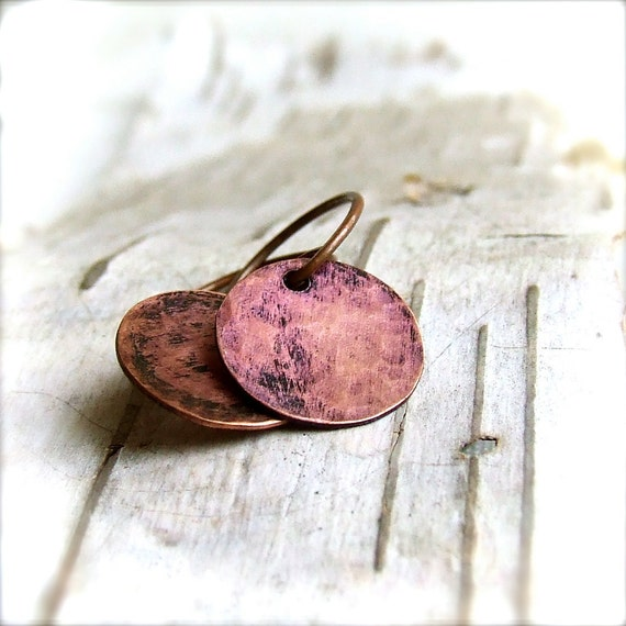 Plum Patinaed Textured Copper Round Disk - Patina Earrings -Craters in Plum -