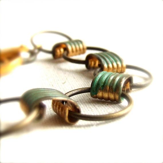 Verdigris Patinaed Brass - Chain Link Bracelet - Patina Jewelry -Jewellery