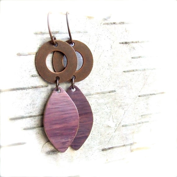 Mauve Patina Dangle Drop Earrings Antiqued Copper Pink Petals Fashion Jewellery