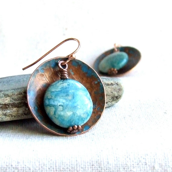 Verdigris Copper Disk, Bluegrass Jasper - Stone Earrings - Rustic Rounds - Fall Fashion