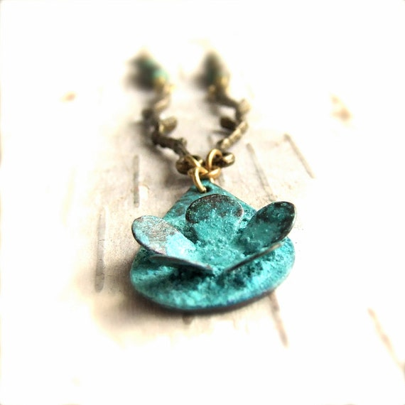 Turquoise Verdigris Pendant Patina Necklace Brass Riveted Flower Branches Metalwork Handmade Fashion Jewelry