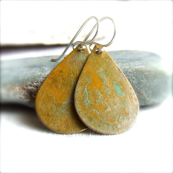 Patinaed Brass Teardrop - Patina Earrings -Weathered Drops in Saffron Verdigris - Fall Fashion- Black Friday