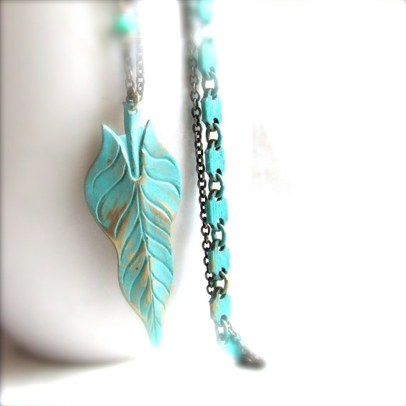 Turquoise Verdigris Patina Brass Leaf- Long Necklace - Fall Fashion