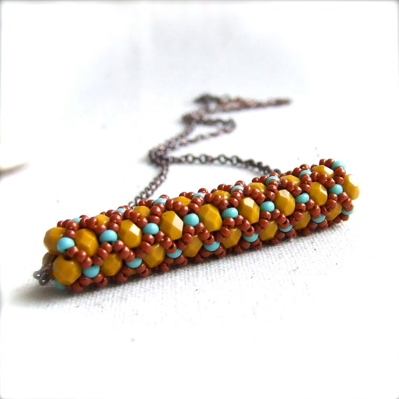 Mustard Red Glass Beaded Woven Tube - BeadWoven Necklace -Cimbicid in Mustard - Fall Fashion