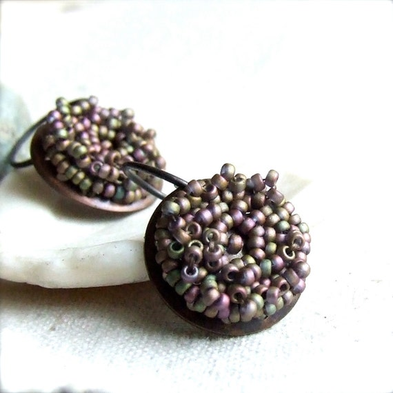 Seed Beaded Earrings - Glass Seed Bead, Copper- Beadwoven Earrings -Mauve Pods -Jewellery