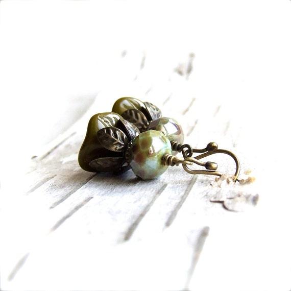 SALE - Mint Green Flower Dangle Drop Earrings Khaki Brown Handmade Fashion Jewellery