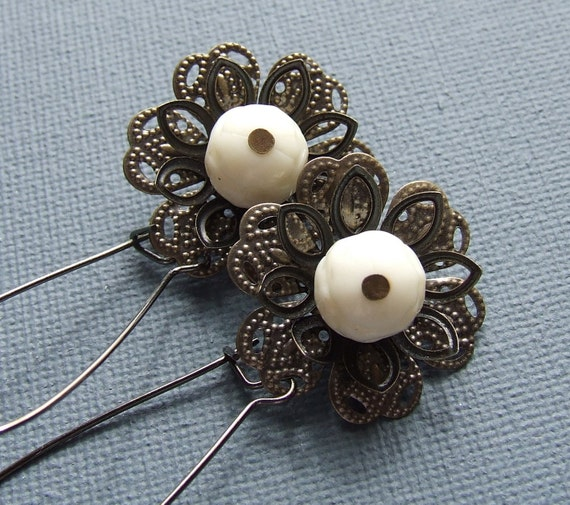 SALE - Cream Vintage Bead and Bronze - Earrings - Juliana