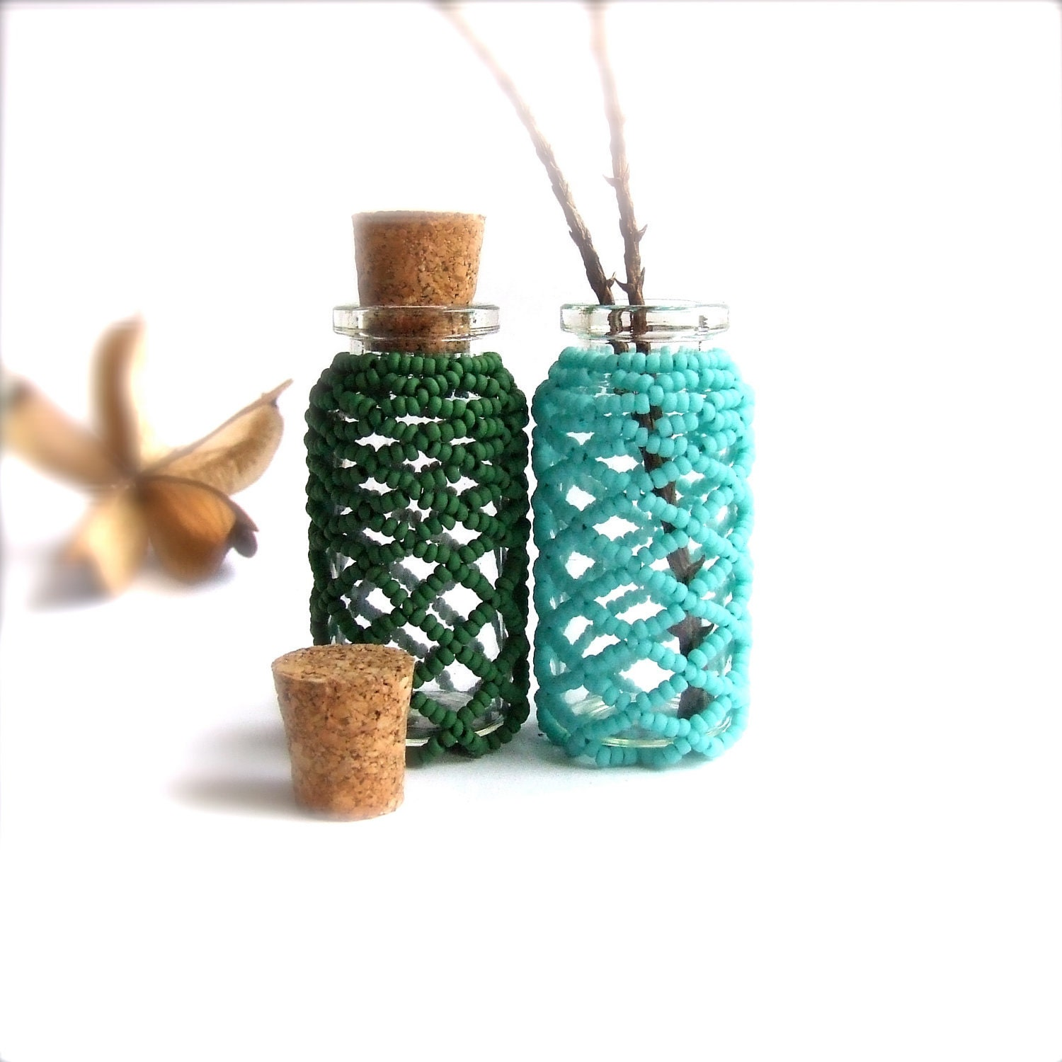 Small Beaded Glass Beadwoven Bottles Turquoise And Hunter