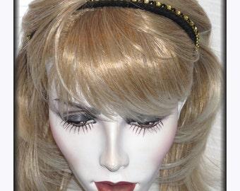 Suomynona Couture Black Silk Headband with Vintage Black and Clear Swarovski Rhinestones Evening Weddings Bridal