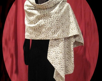 Suomynona Couture Lace and Cashmere Wrap Shawl with Crystal Rhinestones in Black Flower Trim