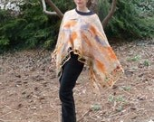 Nuno Felted Poncho in Oranges and Grey