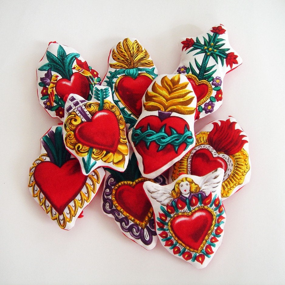 Mexican Milagro Sacred Hearts Ornaments Soft Fabric