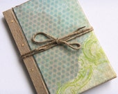 Blank Recycled Scrapbook/Journal with natural paper-Sky Blue Honeycomb Design