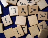 SCRABBLE wood tile pendant charm vintage recycled 97 piece lot