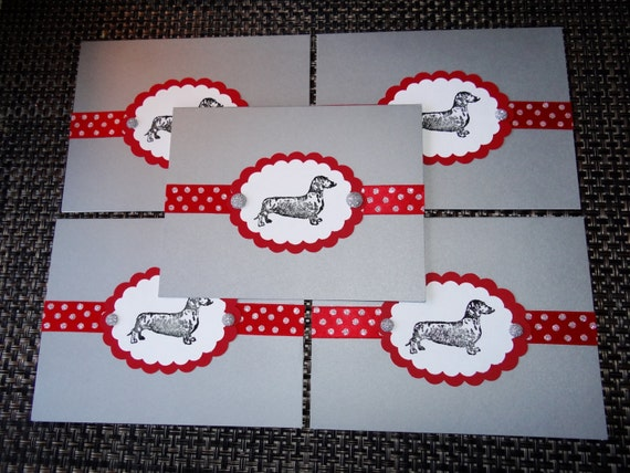 Dachshund DOXIE hand designed Christmas holiday note cards card 12 pack rescue group