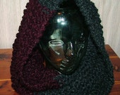 Handknit, charcoal gray and maroon (claret) mobius scarf/cowl