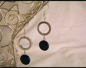 Black glass bead and silver circles earrings