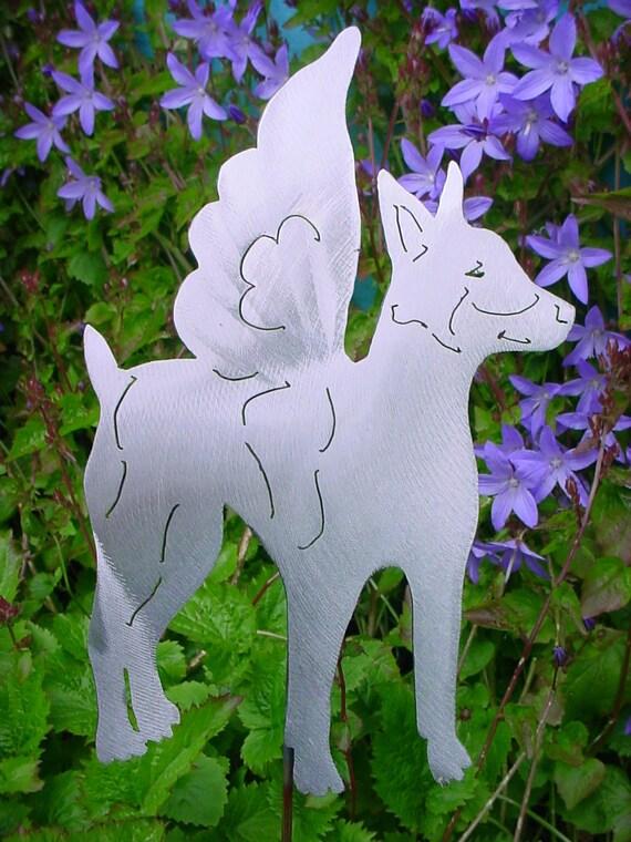 Angel Rat Terrier Outdoor Ornament Metal Lawn Decor Yard Art Steel Plant Stake Garden Spike Pet Memorial Marker