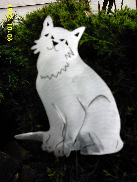 Cat Kitty Feline Metal Lawn Ornament Outdoor Patio Decor Steel
