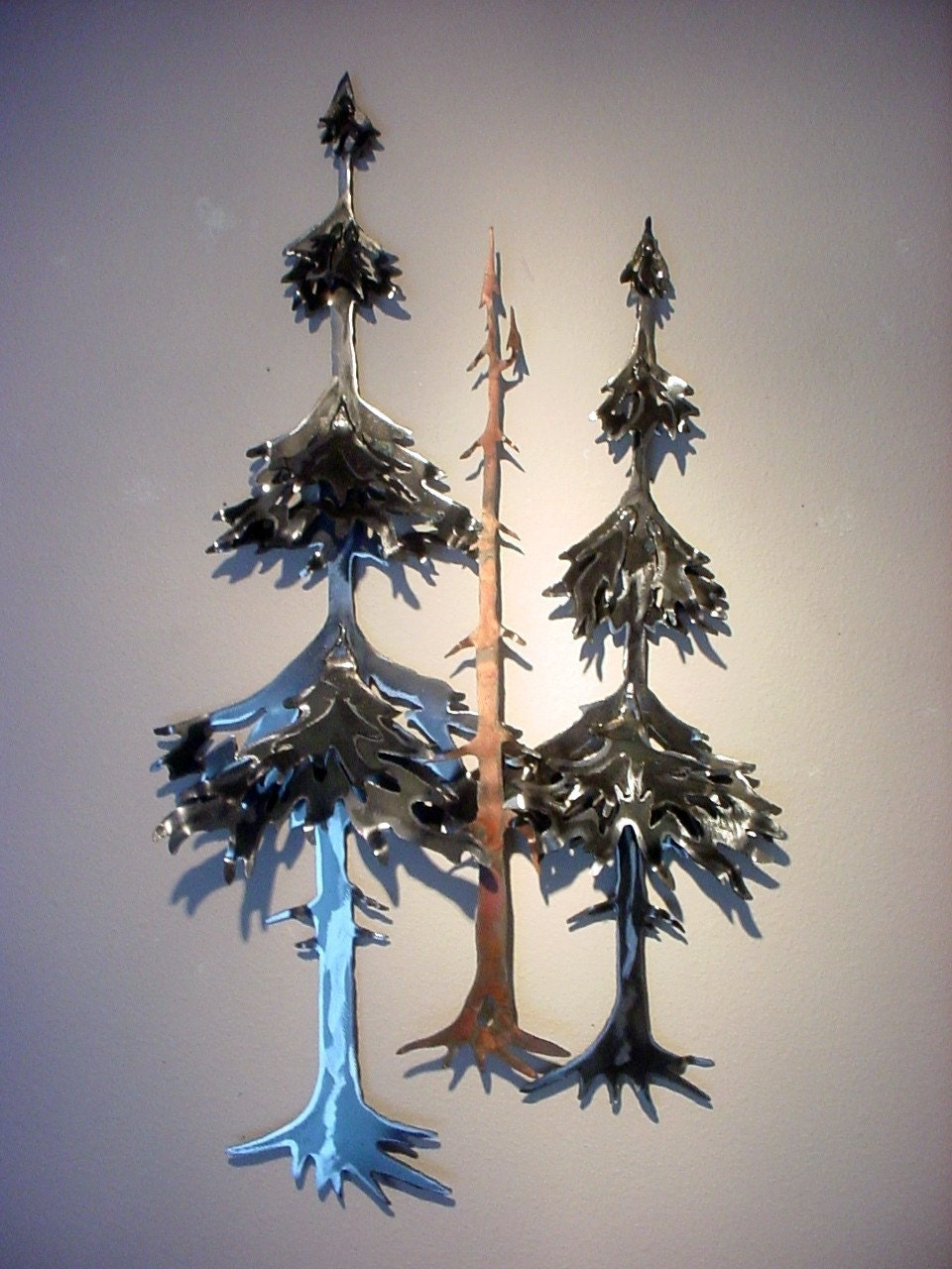 Pine Fir Forest Tree Trees Woods Metal Steel Wall Art Log