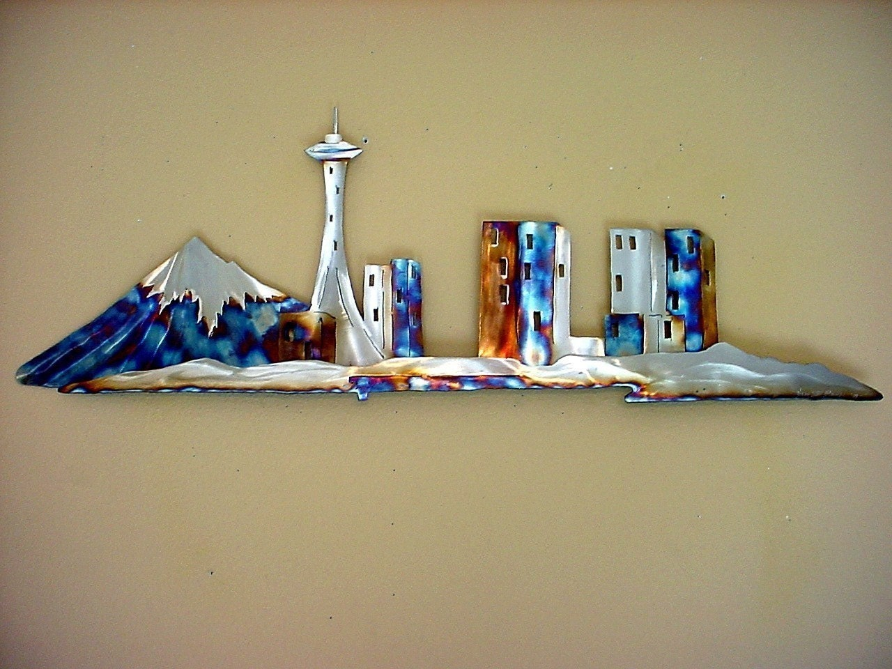 seattle space needle stainless steel metal wall art downtown. Black Bedroom Furniture Sets. Home Design Ideas