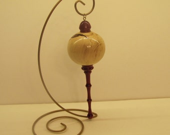 Holly and Purpleheart Ornament with holder