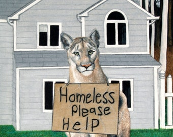 "Homeless mountain lion 8"" x 10"" giclee print"
