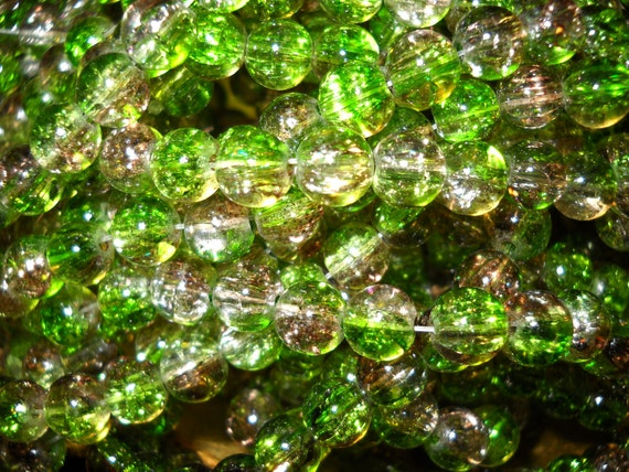 20 grams 8mm glass beads Green and Brown