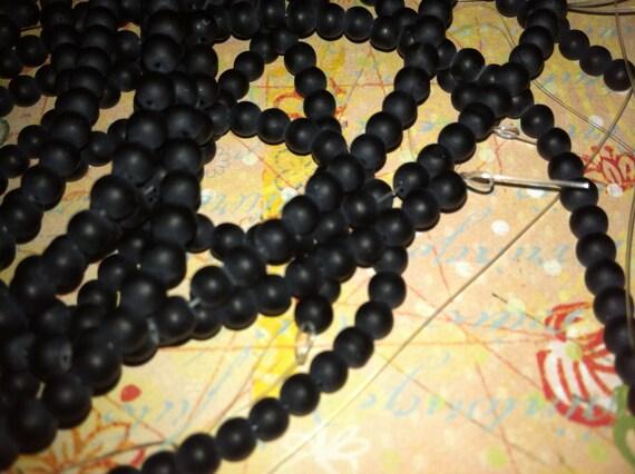 1 strand 4mm black glass beads