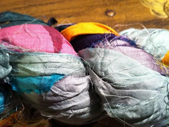 Recycled Sari Ribbon Yarn 100 gr 45 yards