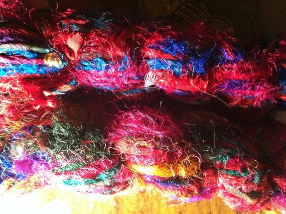 2 skeins 200 grams uncarded recycled sari silk art yarn 60-70 yards