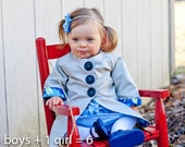 Reversible Chic Spring Coat Organic Cotton Made to Order Unisex 12 months to 5T