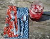Cloth Napkins Folk Art Paisley Farmhouse Reversible Red Blue Set of 6