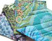 Modern Reversible Quilted Coasters Set of 4 Kaffe Fassett Beautiful Blues