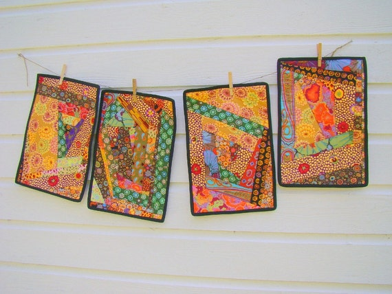 Art Quilted Placemats Kaffe Fassett Abstract Set of Four Award Winning