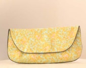 Clutch Purse in Yellow, Blue Aqua, Sienna Brown, and White Floral Print Vintage Fabric - Size Large cc005 - made to order