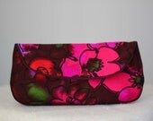 Hawaiian Clutch Purse in Fuschia, Pink, Red, Green, Brown, and Black Floral Vintage Fabric Size Large cc019 - made to order