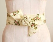 Obi Sash Belt in an Ivory, Olive Green, and Hot Pink Floral Vintage Fabric - made to order