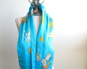 Silk Infinity Scarf Turquoise Aqua Multi Color Butterfly Print Vintage Fabric  - long length