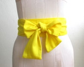 Yellow Obi Sash Belt in a Bright Yellow Acrylic Vintage Fabric - made to order - last one