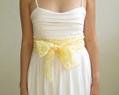 Obi Sash Bow in a Pastel Yellow and White Floral Vintage Lace Fabric by ccdoodle on etsy - made to order - last one