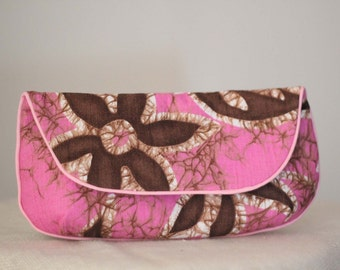 SALE Hawaiian Clutch Purse in Pink, Brown, and White Floral Print Vintage Fabric Size Large cc014 - ready to ship