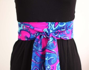 Obi Belt in Hot Pink, Cobalt Blue, and Aqua Retro Paisley Flower Print Vintage Fabric - limited - made to order
