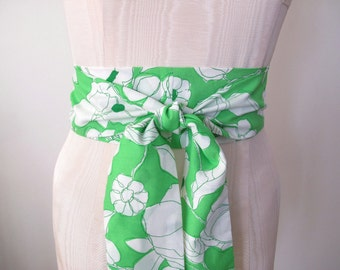 Obi Wrap Belt in a Lime Green and White Floral and Leaves Vintage Fabric - made to order