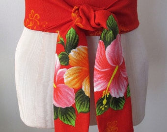 Red Obi Belt Hawaiian Hibiscus Flower Print - made to order